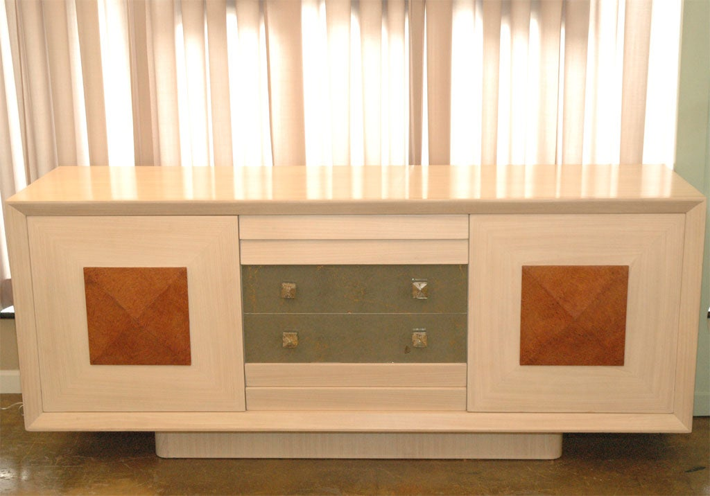 Rarely Seen Custom Cabinet by Celebrated African American Hollywood Architect. Bleached Mahogany, Walnut Burl, Orginal Mirrored Drawers. Recessed Plinth Base.
