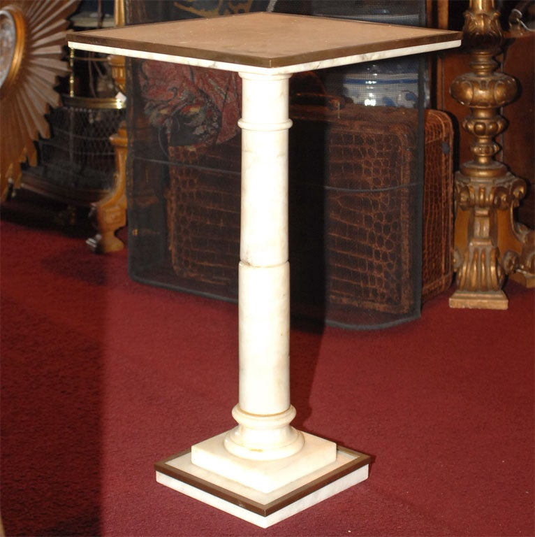 Small Italian White Marble Pedestal Table With Bronze Trim