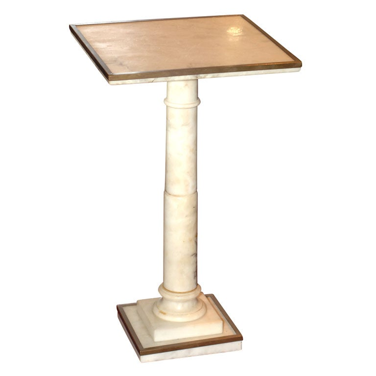 small italian white marble pedestal table with bronze trim. Black Bedroom Furniture Sets. Home Design Ideas