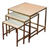 Nest of Modern Mid-Century Brass Tables