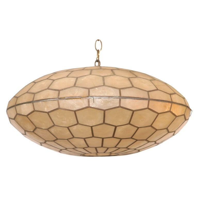 Vintage capiz shell chandelier at 1stdibs for Shell ceiling light fixtures