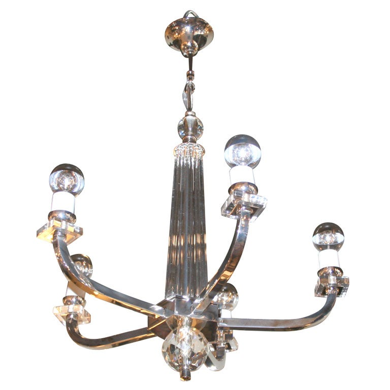 Glass Rod And Crystal Art Deco Chandelier At 1stdibs