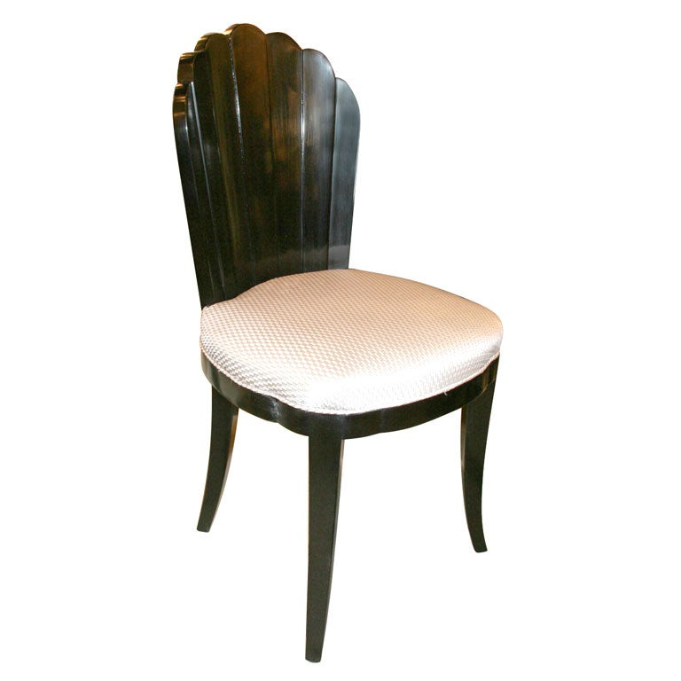 Art deco fan back vanity chair at 1stdibs - Vanity stool with back ...