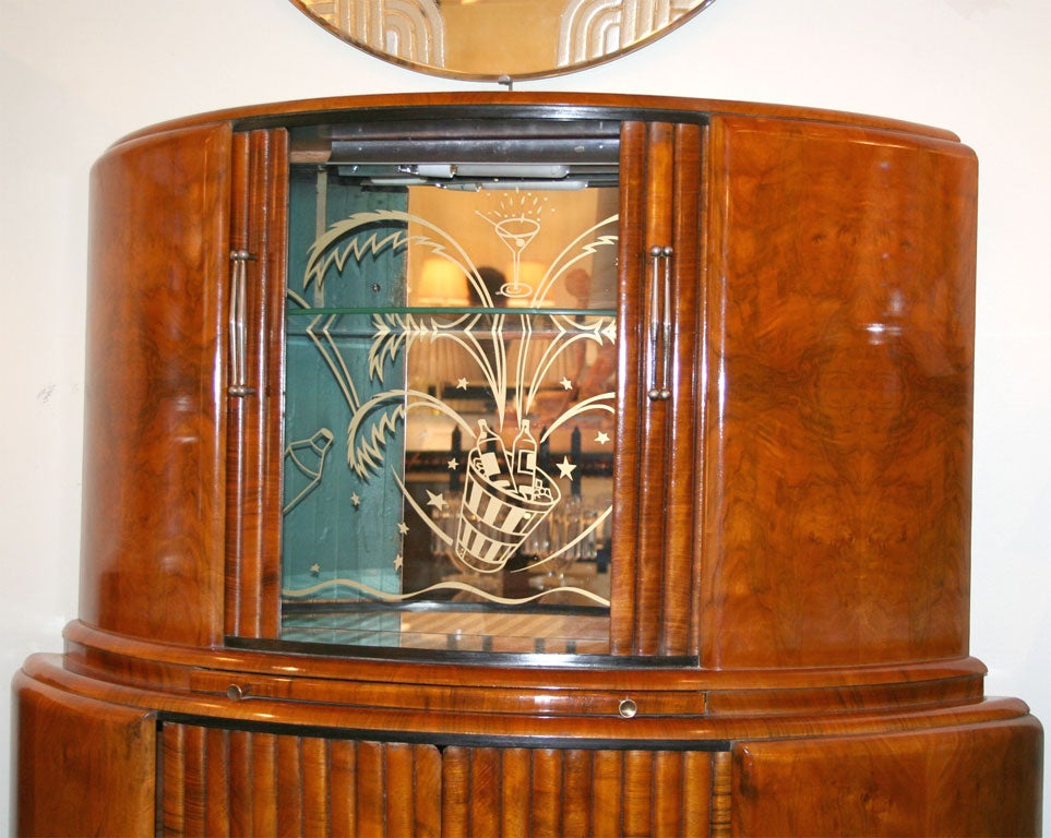 art deco illuminated bar cabinet at 1stdibs. Black Bedroom Furniture Sets. Home Design Ideas