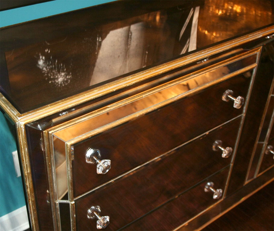 Custom Smoked Mirrored Dresser With Gold Leaf Wood Trim At