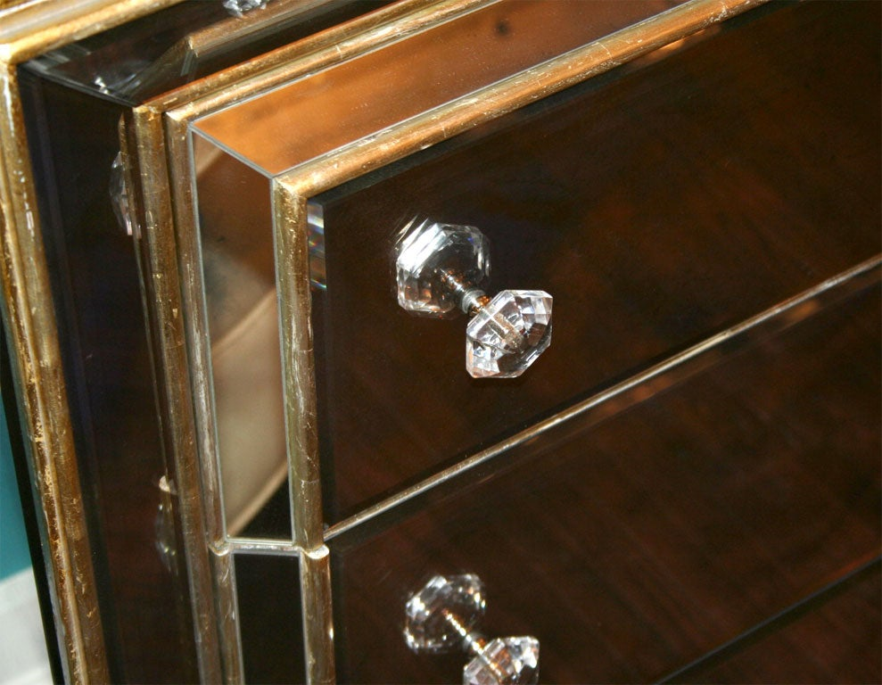 Custom Smoked Mirrored Dresser With Gold Leaf Wood Trim At 1stdibs