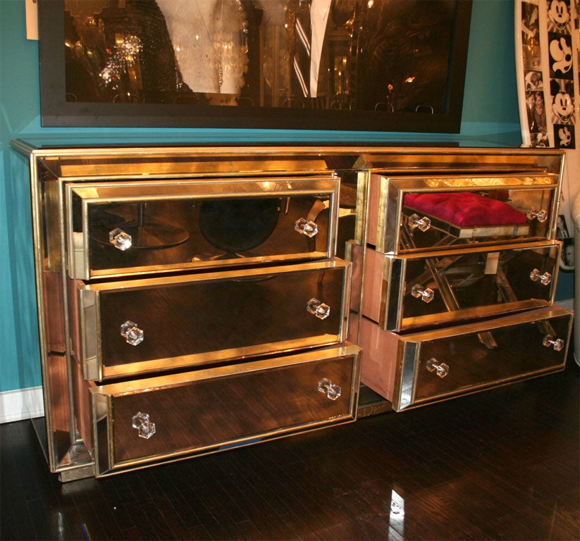 Custom Smoked Mirrored Dresser With Gold Leaf Wood Trim Image 10
