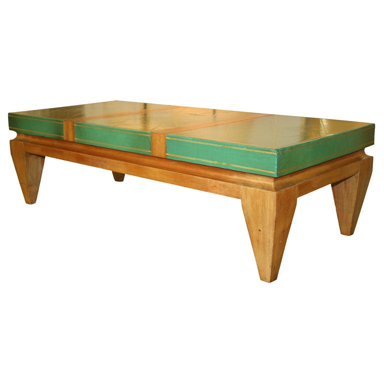 Rectangular Coffee Table Leather Top With Gold Tooled At