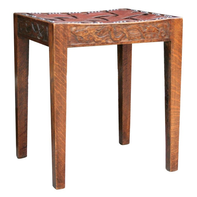 Cotswold School Woven Leather Stool At 1stdibs