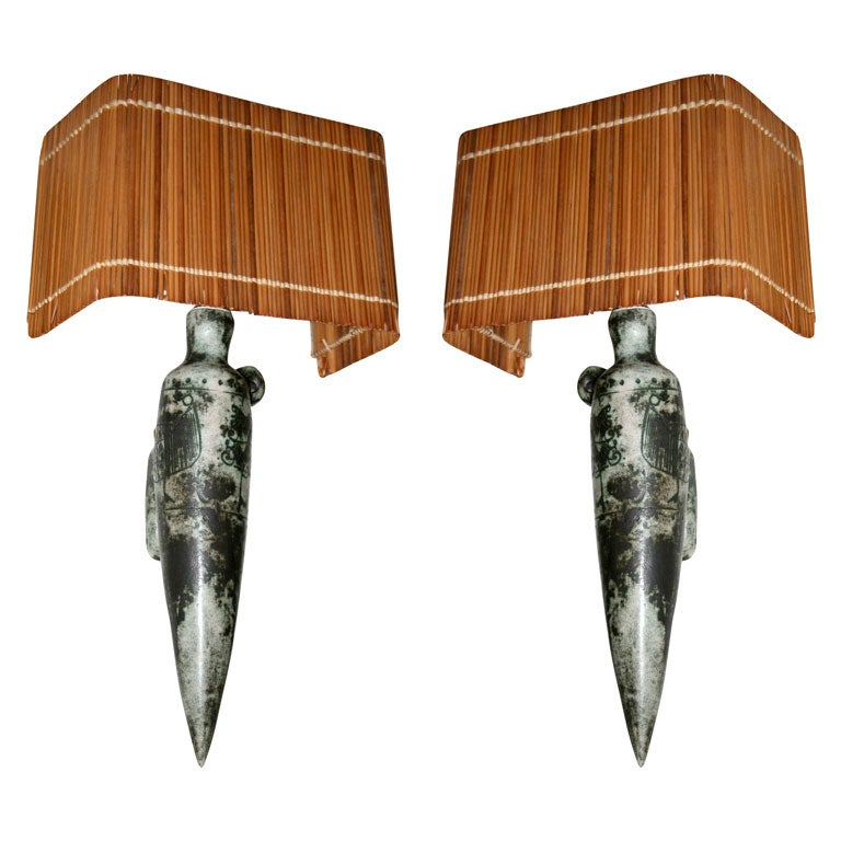 French Ceramic Wall Lights : Pair of Ceramic Wall Sconces by Jacques Blin, French 1950s at 1stdibs