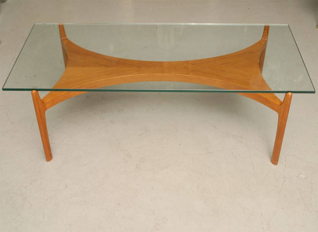 Mid Century Beech Coffee Table With Glass Top 2