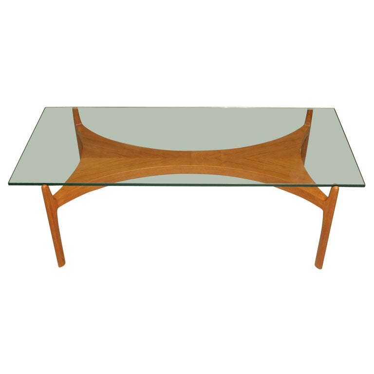Mid Century Beech Coffee Table With Glass Top At 1stdibs