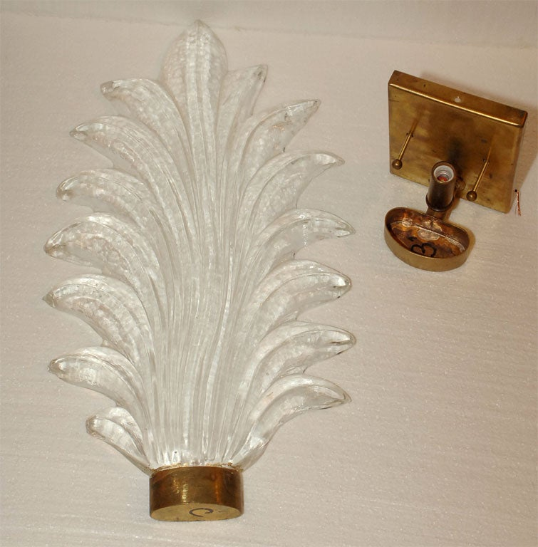 Italian Glass Wall Sconces : Pair Modern Italian Murano Glass Wall Sconces at 1stdibs