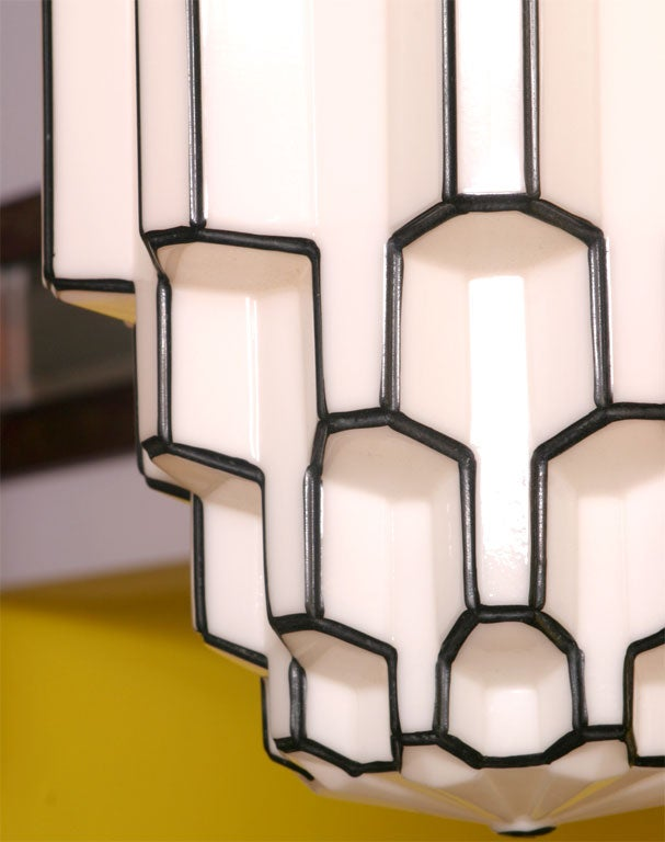 Pr Deco White And Black Ceiling Fixtures From San