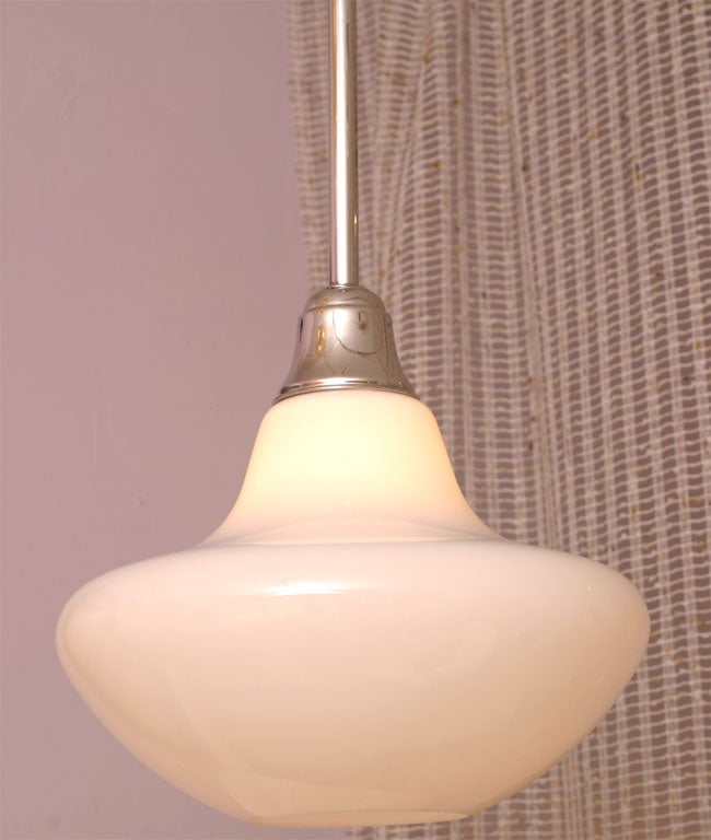 Mid-Century Modern MOVING SALE,PR.MID CENTURY  WHITE,ceiling pendants,restored,4 available For Sale