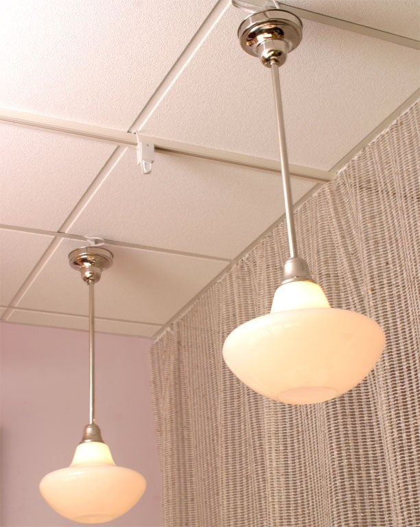 SALE! SALE !PR.MID CENTURY  WHITE,ceiling pendants,restored,4 available In Good Condition For Sale In Miami, Miami Design District, FL