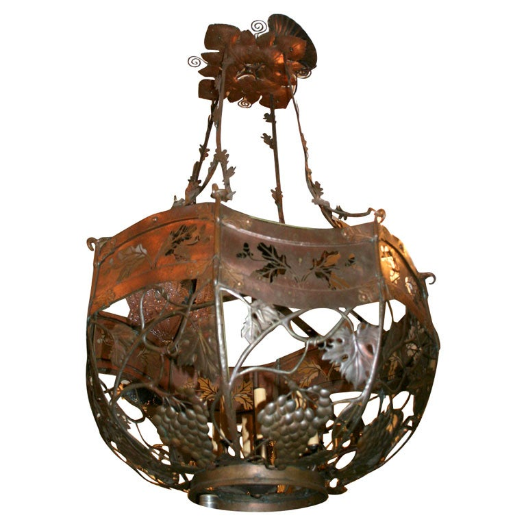 Arts and crafts lantern chandelier at 1stdibs for Arts and crafts chandelier