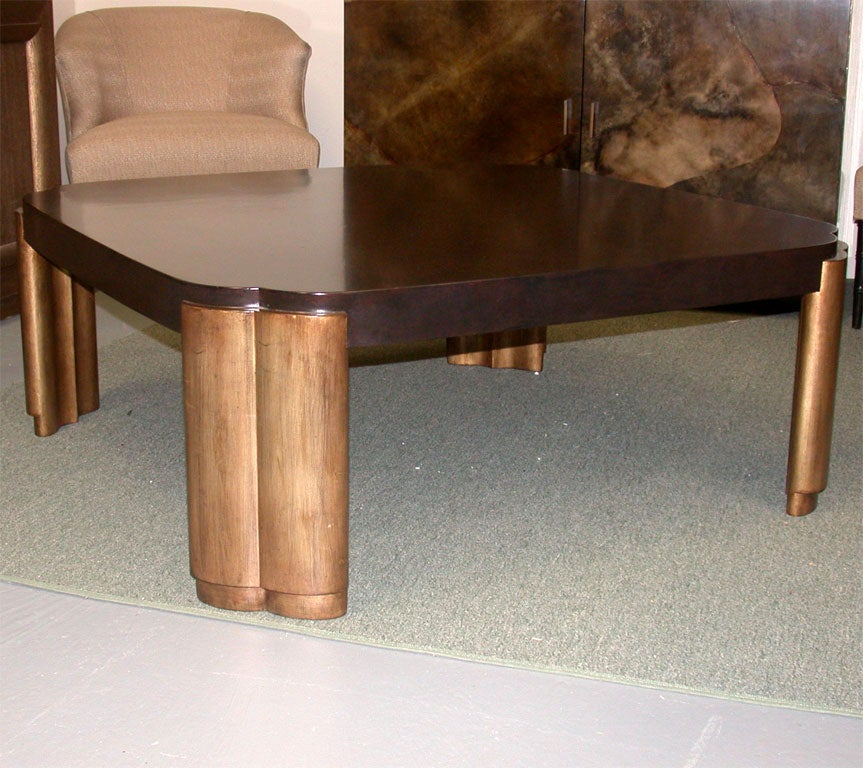 BEAUTIFUL LARGE COFFEE TABLE WITH CARVED GILT LEGS at 1stdibs