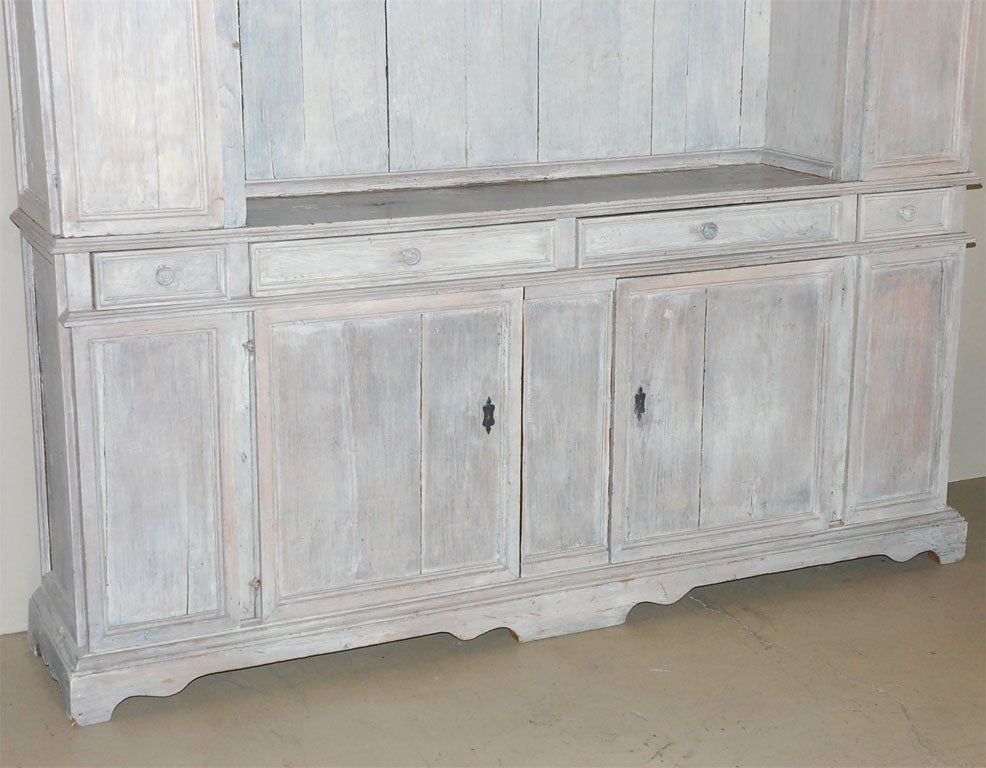 19th century italian whitewashed oak two part cabinet at