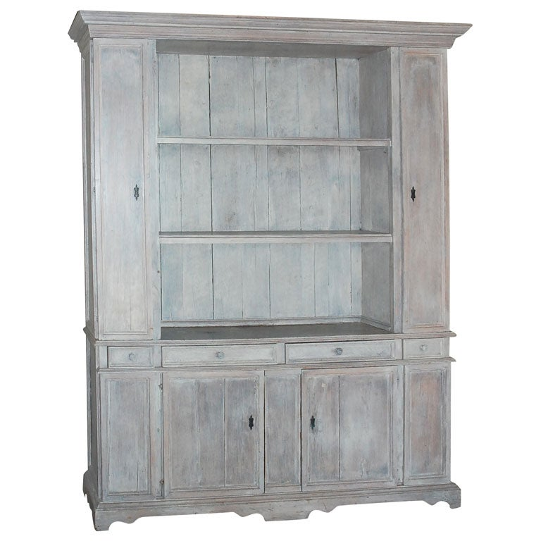Whitewashed Cabinets: 19th Century Italian Whitewashed Oak Two-Part Cabinet At