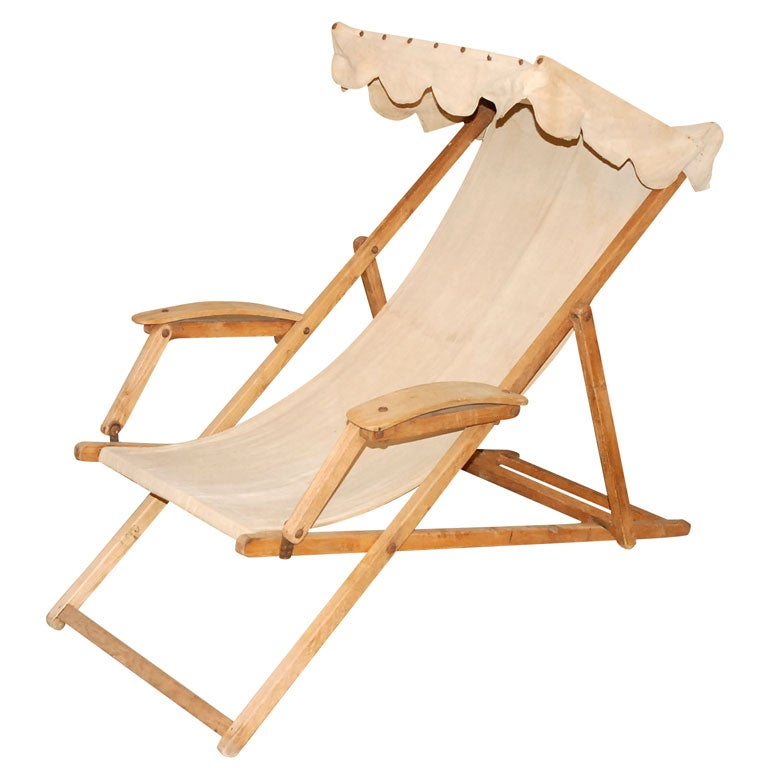 Beach Chair With Canvas Seat And Canopy At 1stdibs