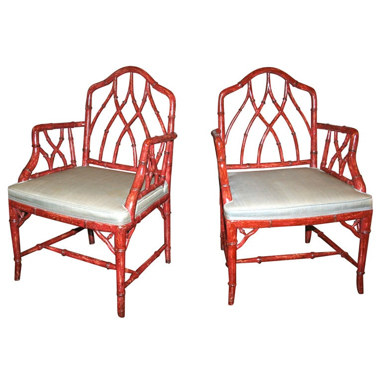 Chippendale side chair - Painted Chinese Chippendale Arm Chairs At 1stdibs