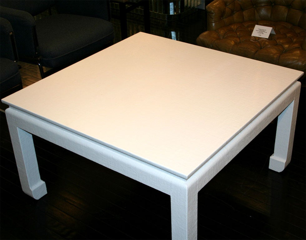 Coffee Table Covered In White Lacquered Linen At 1stdibs
