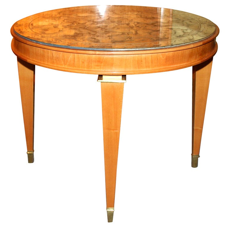 Round Sycamore Table With Mirrored Top At 1stdibs