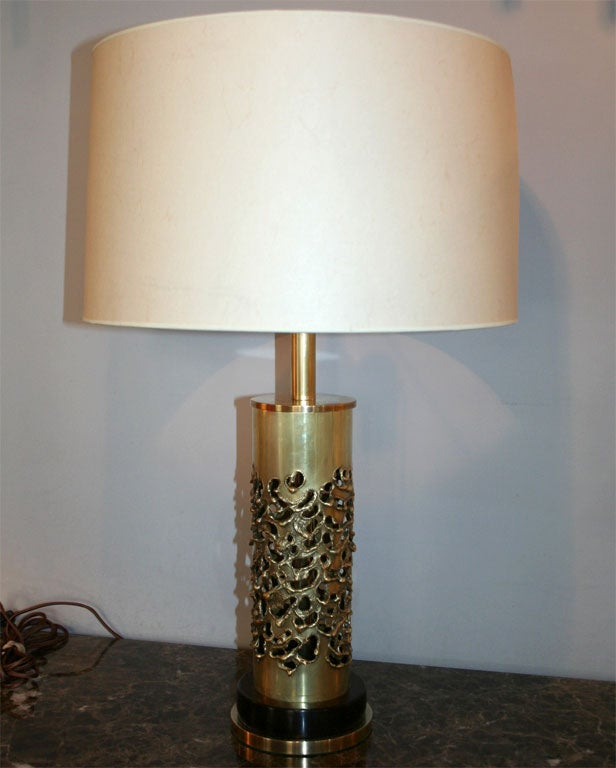 A pair of brutalist sculptural brass table lamps Mid-Century Modern signed R. Stanton 74'. New sockets and rewired Shades not included.