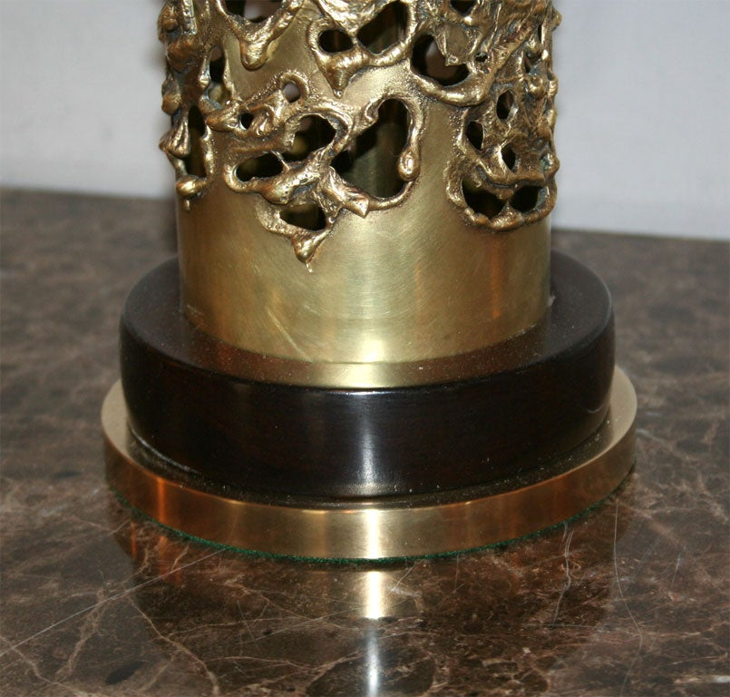 American R. Stanton Table Lamps Pair Mid-Century Modern Sculptural Brass, 1974 For Sale