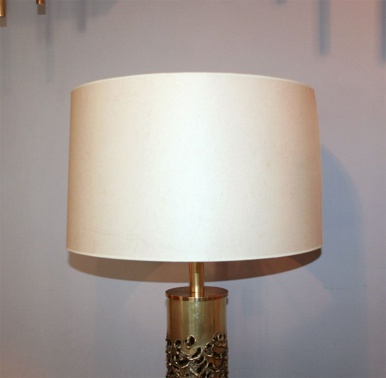 R. Stanton Table Lamps Pair Mid-Century Modern Sculptural Brass, 1974 For Sale 2