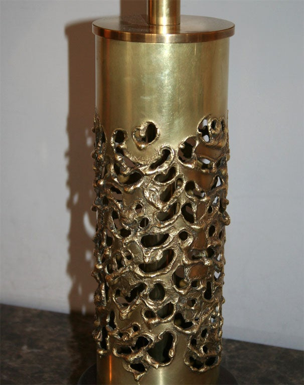 R. Stanton Table Lamps Pair Mid-Century Modern Sculptural Brass, 1974 For Sale 3