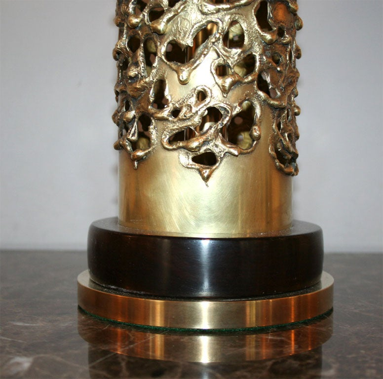 R. Stanton Table Lamps Pair Mid-Century Modern Sculptural Brass, 1974 For Sale 5