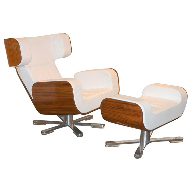 Wing Chair and Ottoman by Lyx at 1stdibs
