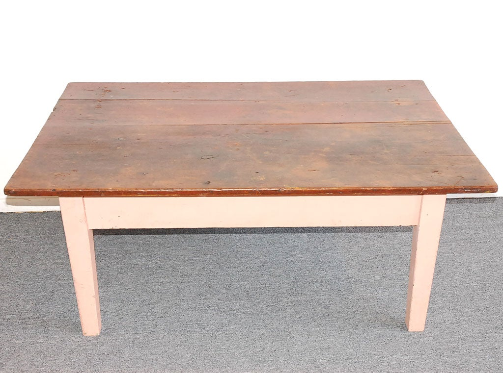 19THC ORIGINAL PINK PAINTED FARM COFFEE TABLE FROM NEW