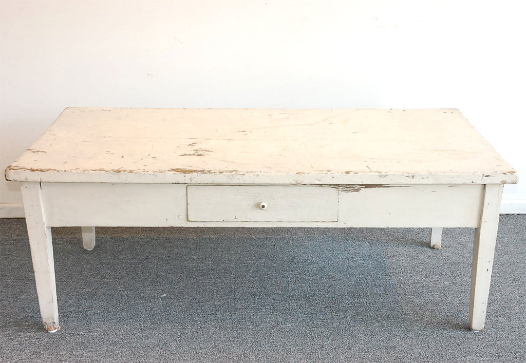 1920 Original White Painted Coffee Table From Pennsylvania At 1stdibs
