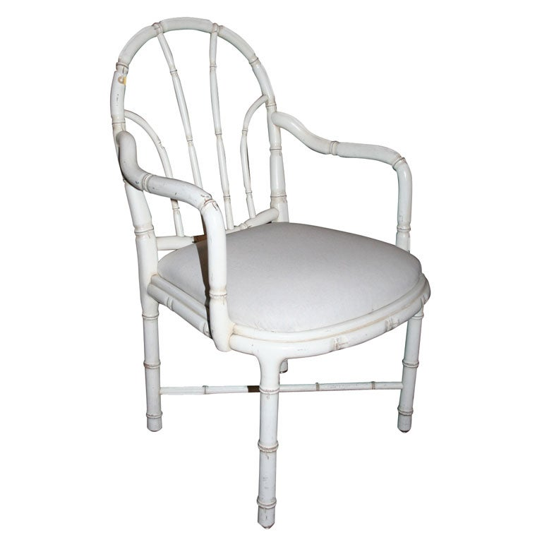Pair of French Faux Bamboo Armchairs