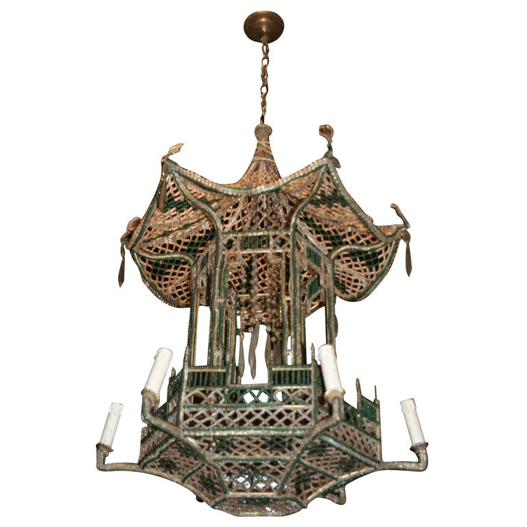 French Beaded Pagoda Chandelier at 1stdibs