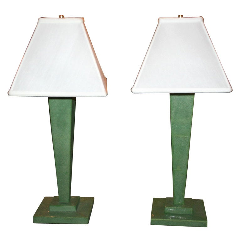 Pair of Shagreen Lamps