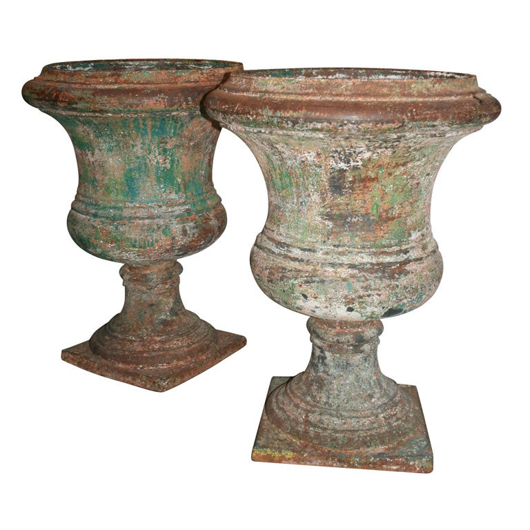 Pair Of Large Cast Iron Garden Urns 1