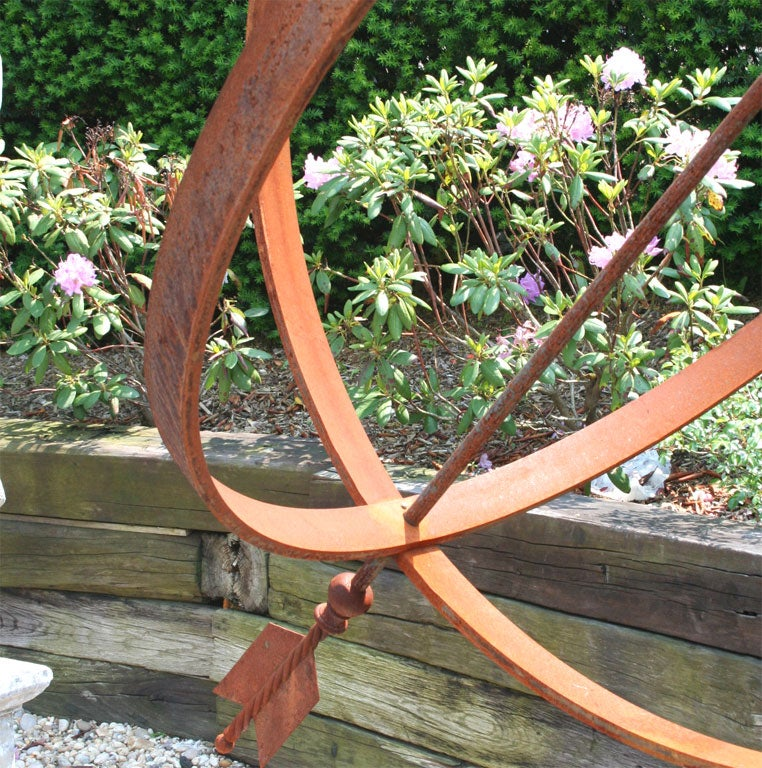 Impressive Weathered Iron Armillary Garden Statue In Good Condition For Sale In Mt Kisco, NY
