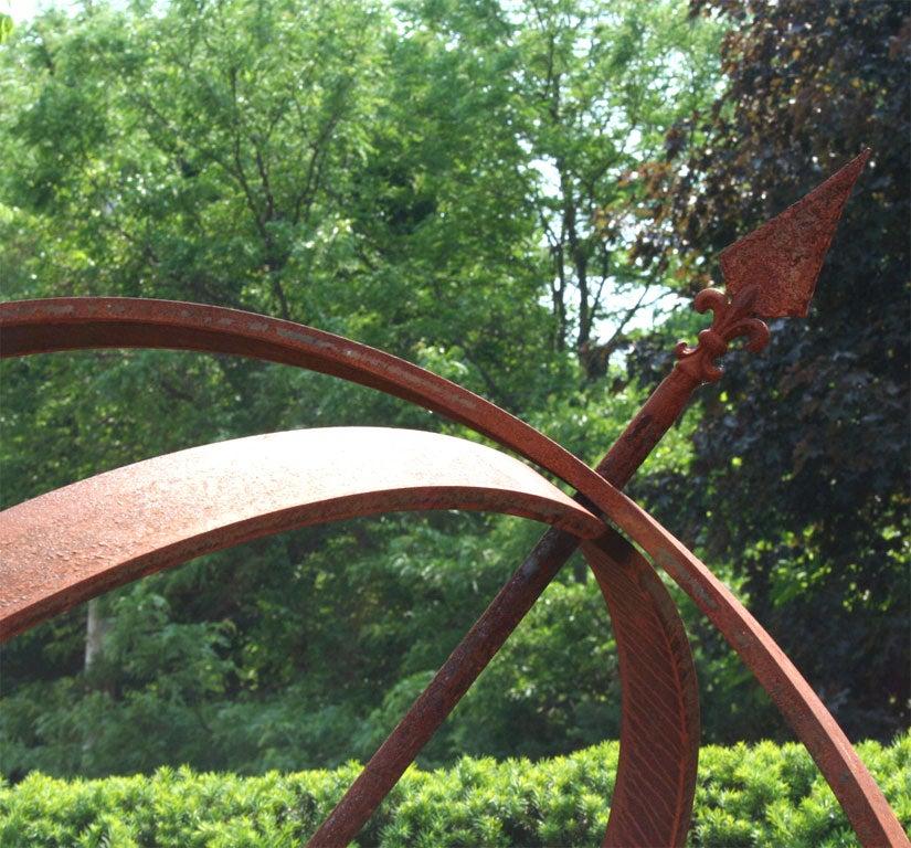 Impressive Weathered Iron Armillary Garden Statue For Sale 1
