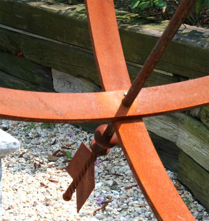 Impressive Weathered Iron Armillary Garden Statue For Sale 2