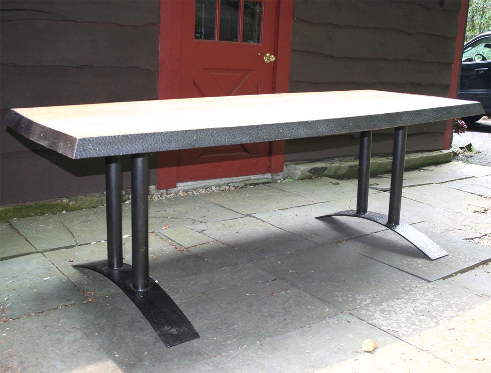 Unusual oak and metal table at 1stdibs for Unusual oak dining tables