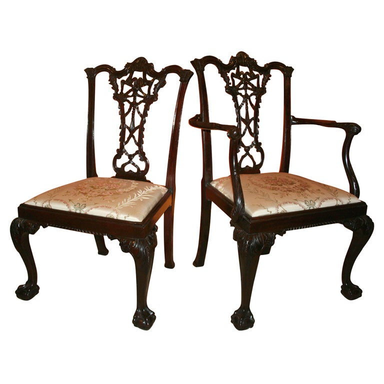 set of 8 george ii style ribbon back dining chairs 19th c