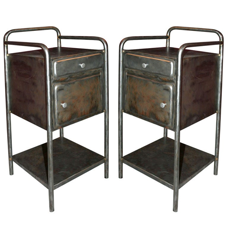 French Industrial Pair Of Bedside Tables At 1stdibs