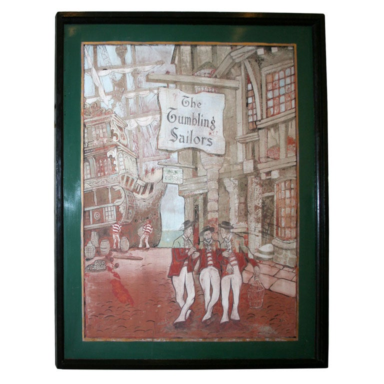 Whimsical Painted Pub Sign At 1stdibs