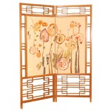 Japanese Teak & Textile Screen