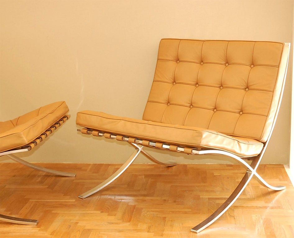 mies barcelona chairs early knoll version at 1stdibs. Black Bedroom Furniture Sets. Home Design Ideas