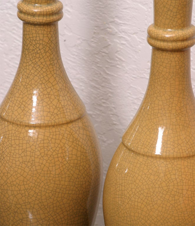 mustard yellow mid century crackle lamps at 1stdibs. Black Bedroom Furniture Sets. Home Design Ideas